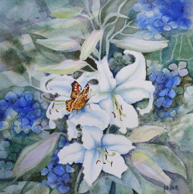 Butterfly on Lilies by Gill Smith